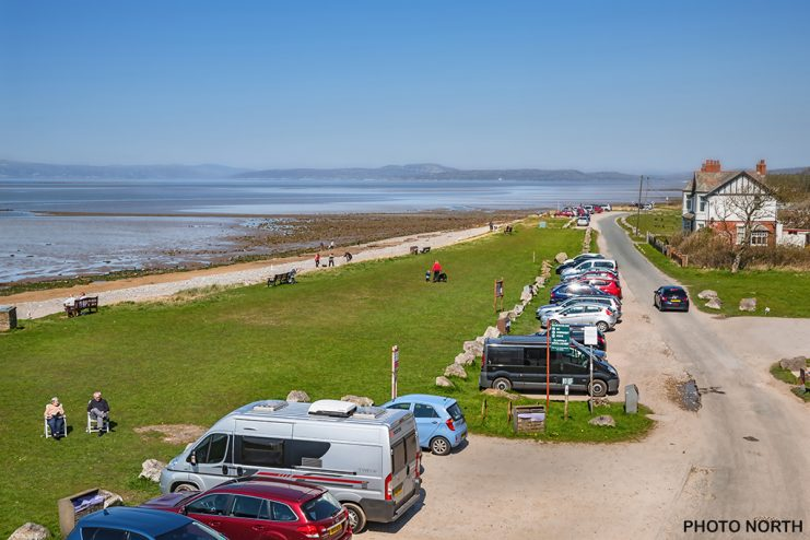 Stock Photo - A sunny day in April at The Shore, Hest Bank, Lancashire, England, UK.