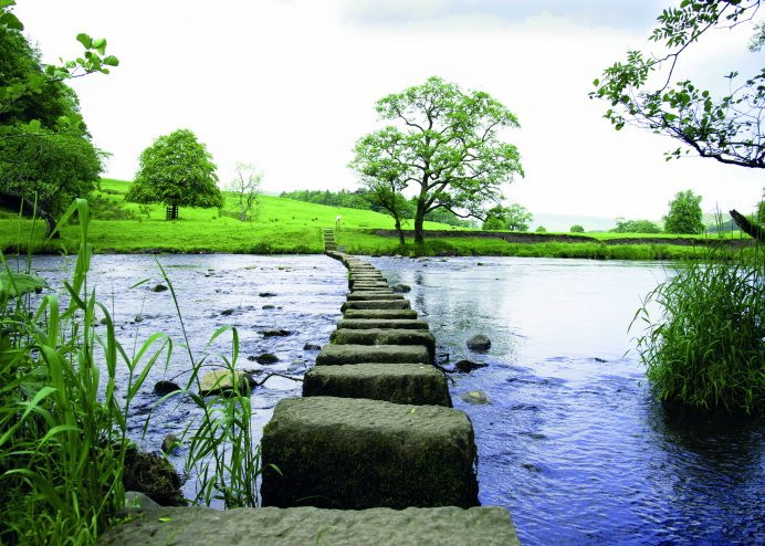 Stepping stones across the River Hodder in the Forest of Bowland near Clitheroe, Lancashire